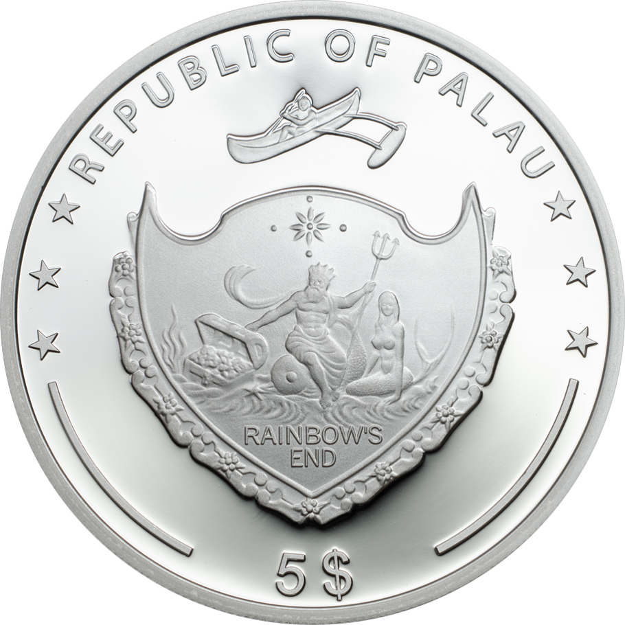 Palau 2018 Luck Four Leaf Clover 5 Dollars 1oz Silver Coin,Proof