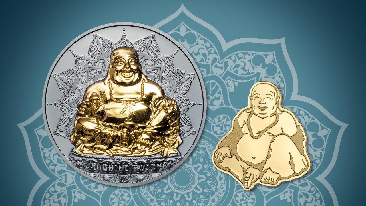 Palau 1$Golden Laughing Buddha 0,5g 9999 Gold BU Coin Special Shape