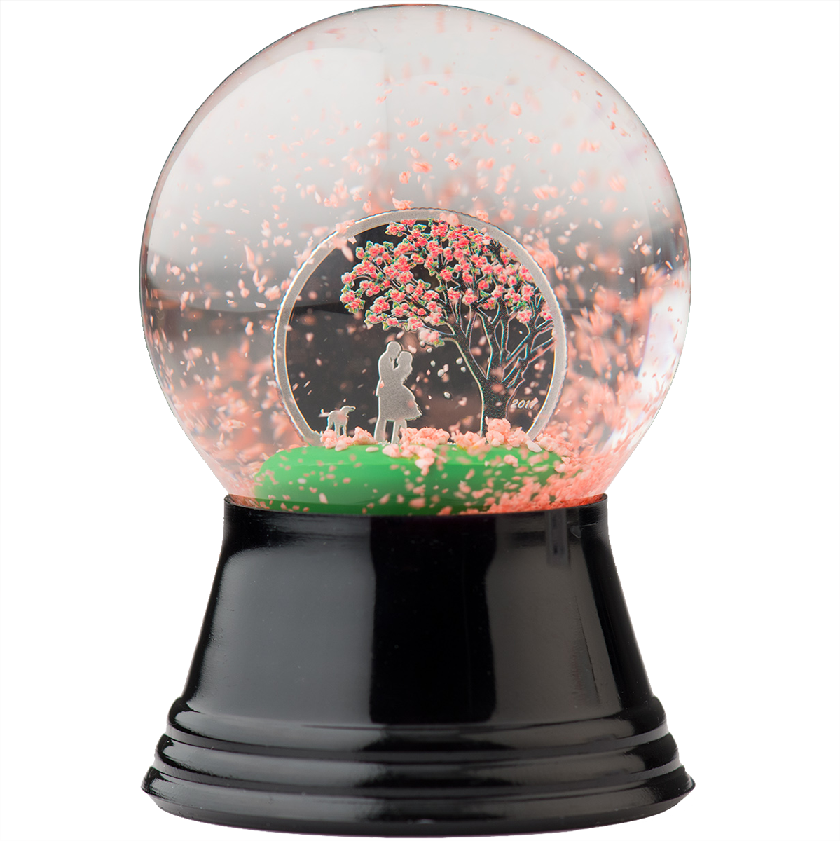 Snow globe with silver coin and cherry blossom flower theme