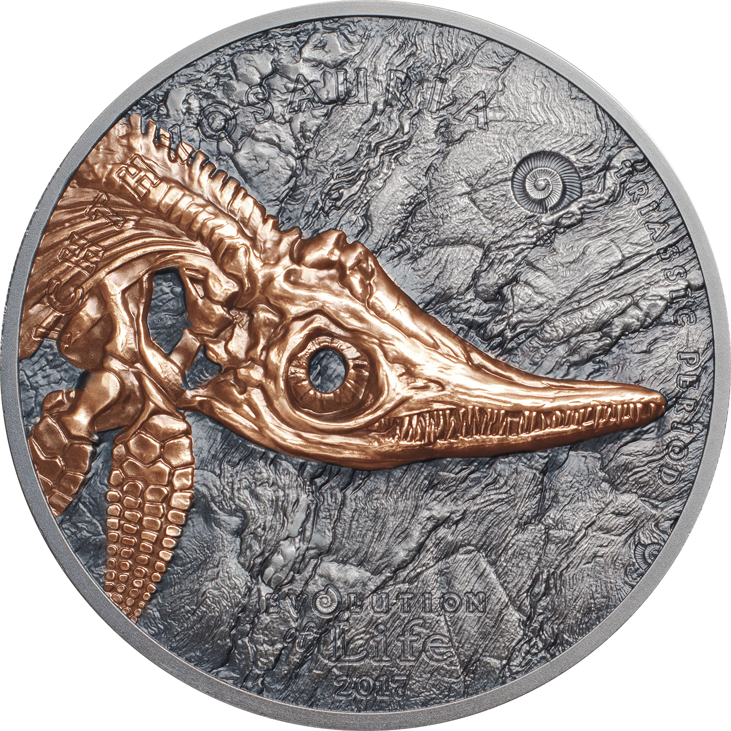 Red-gold and antique finish evolution of life silver coin with Ichthyosaur by CIT