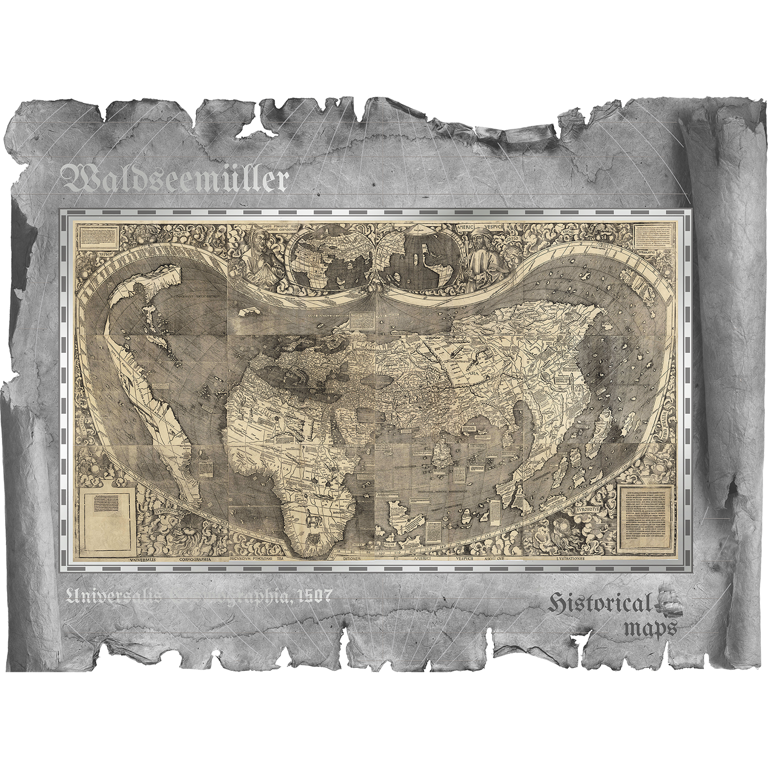waldseemueller historical maps america amerika silver coin banknote CIT coin invest smartminting