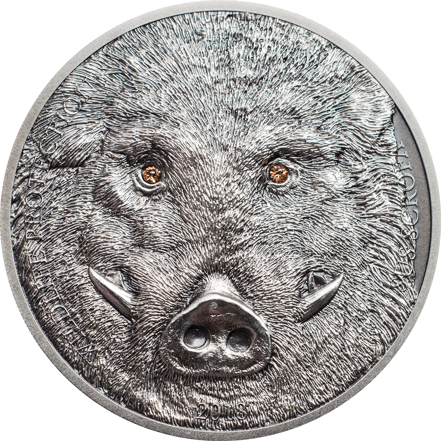 CIT Coin Invest AG smartminting silver coin Wildlife Protection wild boar sus scrofa for Mongolia with Swarovski crystal elements