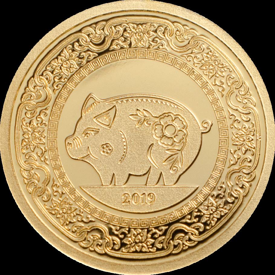 2019 500 Togrog Mongolia Year of the PIG 1oz 999 SILVER COIN Custom Box /& COA