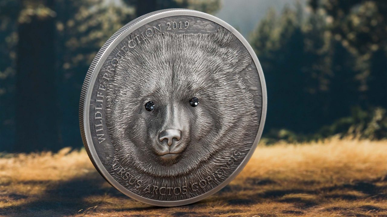 2019 1 Oz Silver 500 Togrog Mongolia GOBI BEAR Wildlife Protection Coin.