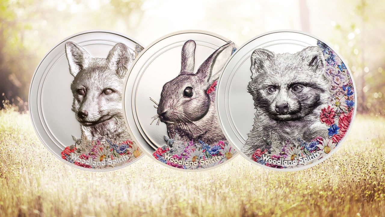 RABBIT WOODLAND SPIRITS 2019 MONGOLIA 1 OZ 999 SILVER PROOF AND COLOURED COIN